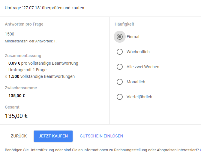 Google Surveys - Berechnung