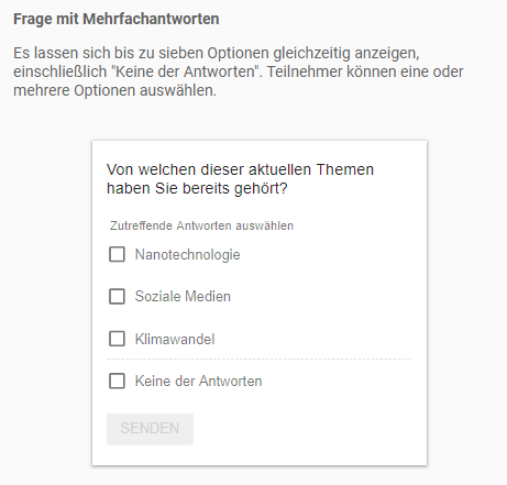 Google Surveys - Standard + Freifeld