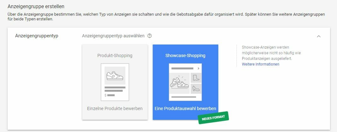 Showcase Google Shopping