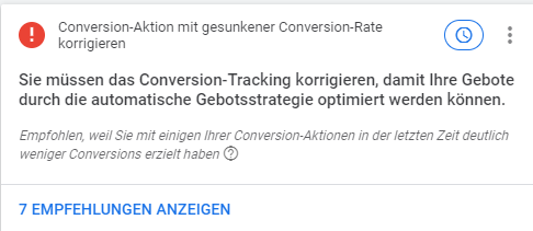 Beispiel Conversion-Rate gesunken